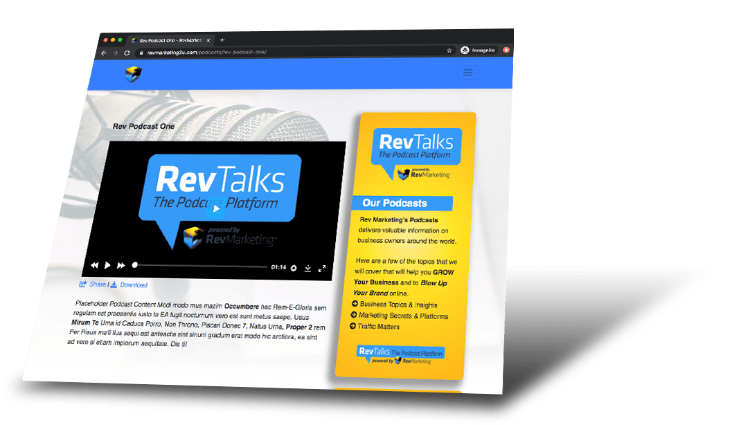 RevTalks webpage sample
