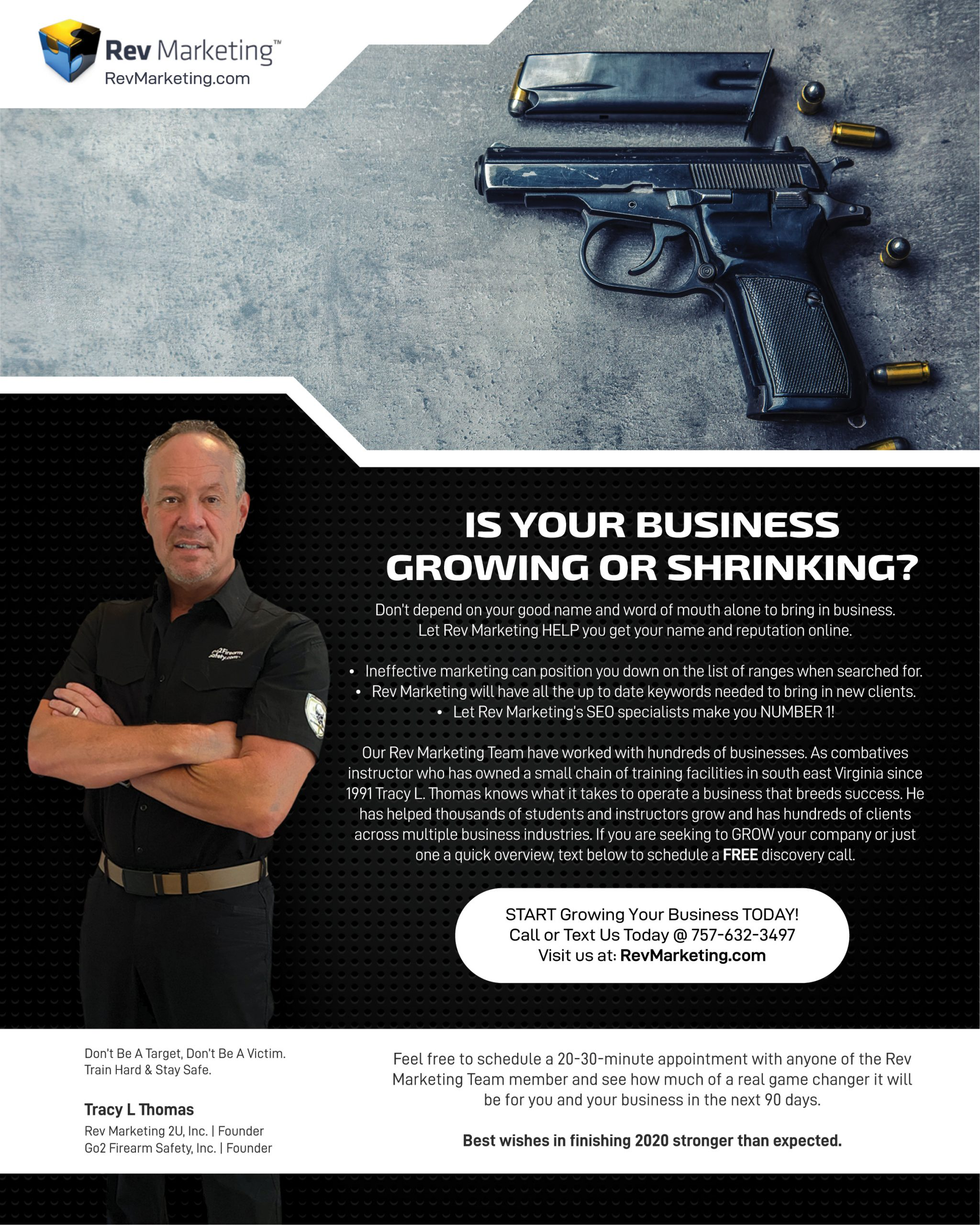 The Rev Marketing Team builds long lasting relationships with the firearms industry while developing a marketing plan and strategies to enhance growth online and in communities around servicing the firearms industry.
